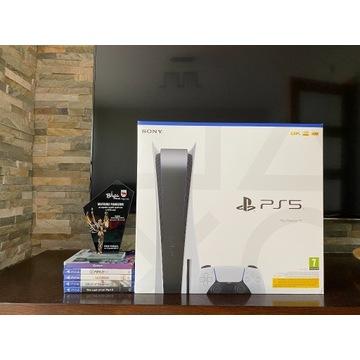PLAYSTATION 5 PS5 825 GB BLU-RAY PAD + 5 GIER