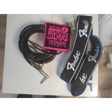 Pasek Fender, struny i kable