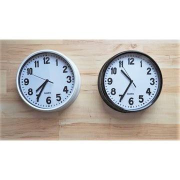 Zegar wskazowkowy czarny i bialy / komplet