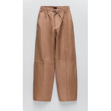 Spodnie Skórzane Zara Beż Studio M Skóra Naturalna