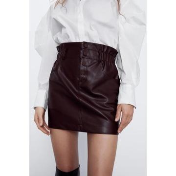 ZARA Mini spódnica z wysokim stanem eko skóra S