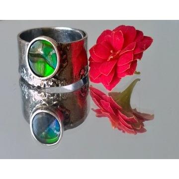 Srebrny pierścionek ammolit zielony srebro regulow