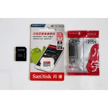 karta pamięci microSD 32GB SanDisk+adapter+czytnik
