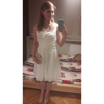 Sukienka kremowa na ślub krótka do kolan M/L