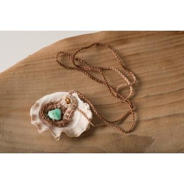 Naszyjnik z chryzoprazem i muszlą - Handmade