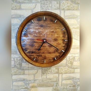 zegar dębowy rustykalny beczka dębowa