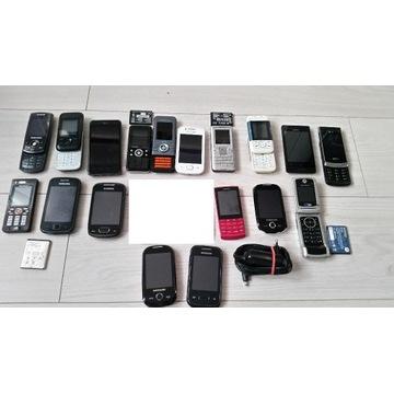 Zestaw 18 telefonów - większość się włącza