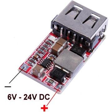 Przetwornica Ładowarka USB 5V 3A 12V-24V Step Down
