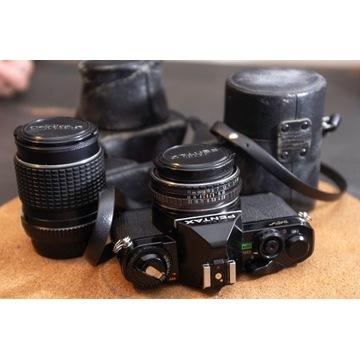 Aparat Pentax MV z 2.8/40mm oraz 3.5/135mm