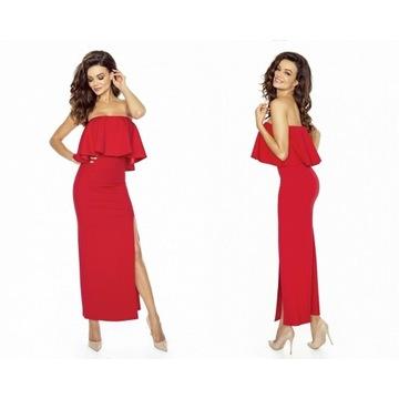 Sukienka hiszpanka falbana maxi czerwona S