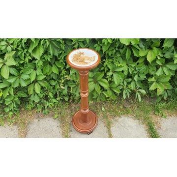 Drewniany kwietnik - kolumna  z ceramiką