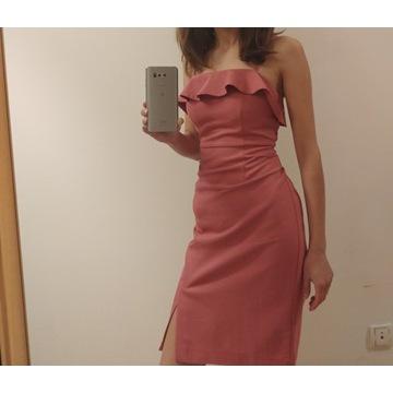 Sukienka koktajlowa pudrowy róż xs rzm.32