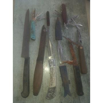 Lot zestaw starych noży i scyzorykow