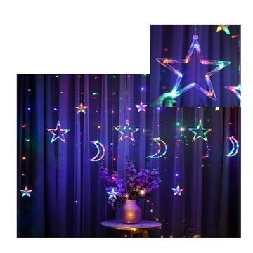 Gwiazdy i księżyc - lampki LED 2,5m nocne 138 LED