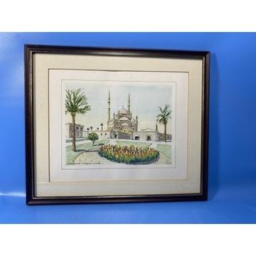 Akwarela sygnowana. Alabaster mosque. Kair