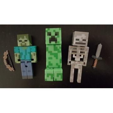 Minecraft Figurki Creeper, Zombie i Szkielet
