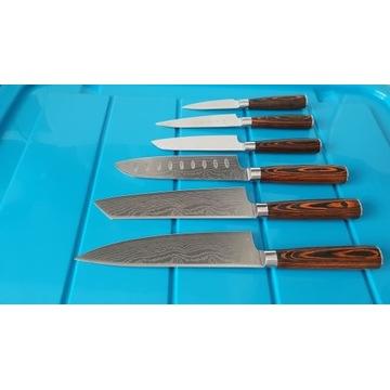 Komplet 6 noży szefa kuchni 58HRC