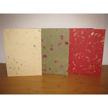 papier czerpany z kwiatami teczki zestaw 3 sztuki