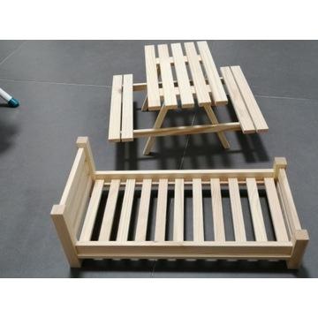 Meble dla lalek, łóżko i stół z ławkami KPL.BARBIE