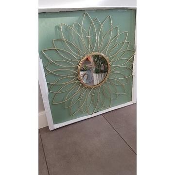 Lustro okrągłe BOHO kwiat złote