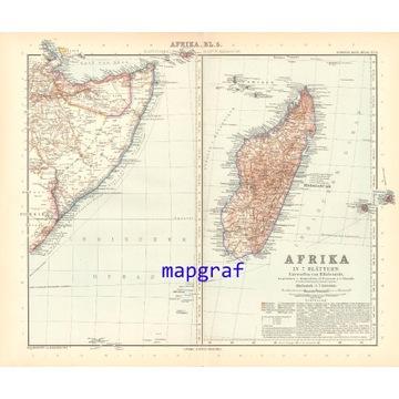 MADAGASKAR SOMALIA stara mapa z 1906 roku 73