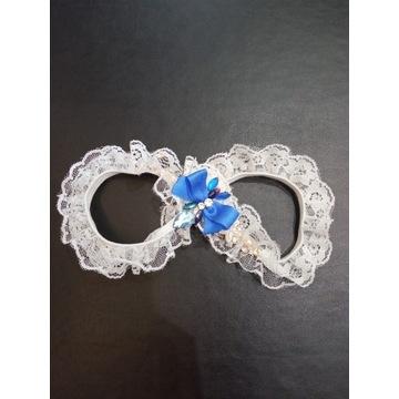 Podwiązka biała ślubna/niebieska kokarda/brylancik