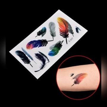 Tatuaż tymczasowy na wodę kolorowy piórko piórka