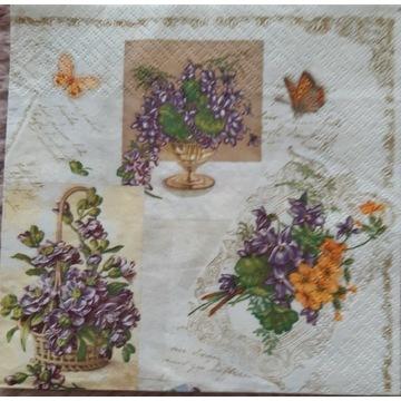 Serwetka decoupage 2 szt kwiaty detro vintage