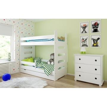 Łóżko piętrowe MATI 180x80 szuflada materac BIAŁY