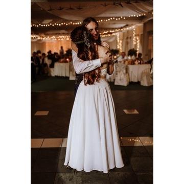 Koronkowa suknia ślubna BOHO/RUSTYKALNA crop top