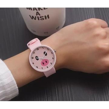 """Zegarek różowy """"świnia"""""""