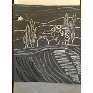 Art naïve - Toskania I; pastel olejny
