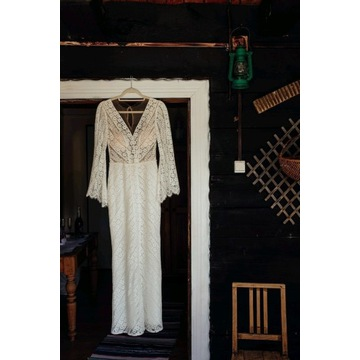 Julia Gastoł suknia ślubna boho XS koronkowa