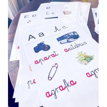 Plansze A5 fiszki alfabet PDF 32 sztuki litery
