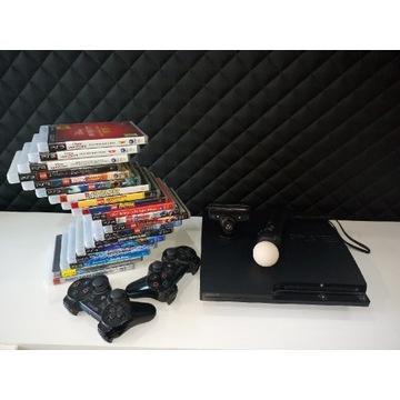 PS3 SLIM PLAYSTATION 3, 320GB + GRY I AKCESORIA