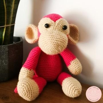Małpka szydełkowa, przytulanka, miś, ręczna robota