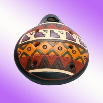 Okaryna Ceramiczna indiańska Peru ręcznie malowana