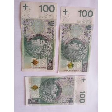 3 banknoty 100 złotowe