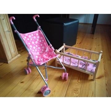 Łóżeczko drewniane i wózek dla lalek