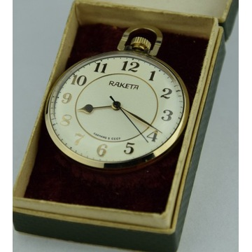 Kieszonkowy zegarek Raketa, Rakieta, etui, NOS, Au