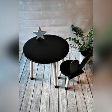 Komplet mebli dla dzieci czarny stolik i krzesełko