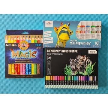 Kredki Magic 3w1 farby tempery 10 cienkopisy kayet