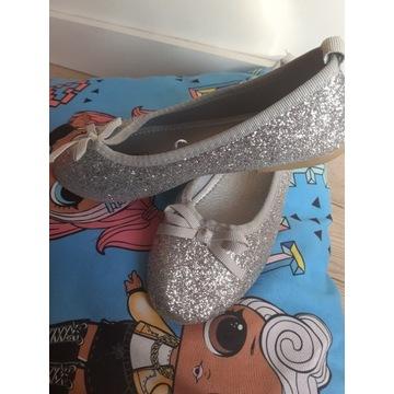Nowe balerinki srebrne r.33