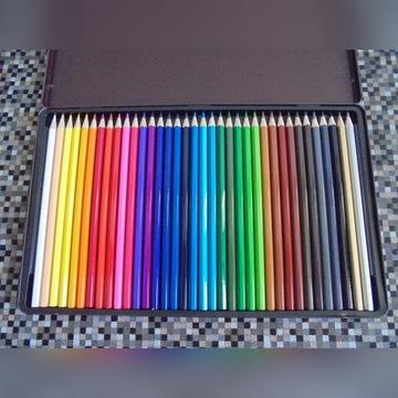 Kolorowe Kredki 36 Kolorów Metalowe Etui