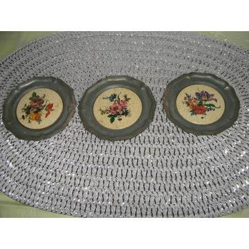 Talerzyki dekoracyjne cyna