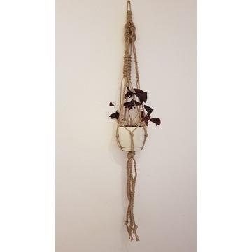 Kwietnik makrama z grubego sznurka jutowego