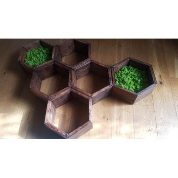 Półki Heksy drewniane