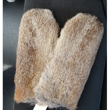 Nowe damskie rękawiczki skórzane Gino z krolika M
