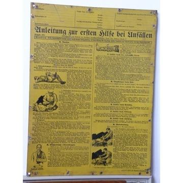 TABLICA PIERWSZA POMOC NIEMCY 1934 RZESZA