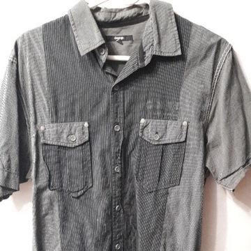 koszula rozpinana krótki rękaw grantowa w paski M